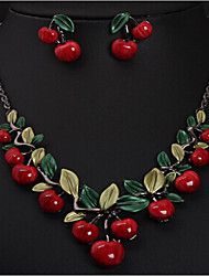 cheap -Women's Jewelry Set Cute Work Casual Fashion European Party Special Occasion Anniversary Birthday Gift Resin Alloy Cherry Fruit Necklace
