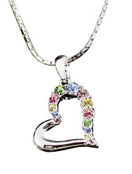 cheap -HKTC Bridal Jewelry 18k White Gold Plated Colourful Cubic Zirconia Crysatl Heart Pendant Necklace
