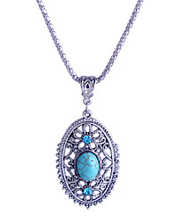 Women's Pendant Necklaces Crystal Rhinestone Simulated Diamond Alloy Light Blue Jewelry Party Daily Casual 1pc