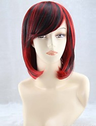cheap -woman with short straight hair fashion cos the gradient black mixed red cosplay wig Halloween