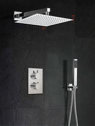 Contemporaneo Montaggio su parete Cascata / Termostatico / Doccia a pioggia / Docetta inclusa with  Valvola in ottoneDue maniglie Tre
