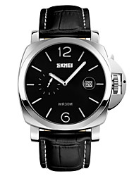 cheap -SKMEI® Men's Fashion Large Dial Dress Watch Second Dial Leather Strap Cool Watch Unique Watch