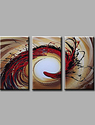 Ready to Hang Stretched Hand-Painted Oil Painting on Canvas Wall Art Contempory Abstract Brown Red Three Panels