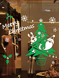 cheap -Window Stickers Window Decals Style Color Christmas Tree Snow Window Glass Decoration PVC Window stickers
