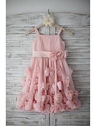 economico -A-line abito ragazza fiore lunghezza ginocchio - chiffon cinghie senza maniche con fiore