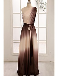 cheap -A-Line One Shoulder Floor Length Chiffon Prom Formal Evening Dress with Sash / Ribbon Side Draping by Thstylee