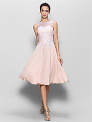 cheap -Bridesmaid Dress Lanting Bride® Knee-length Chiffon / Lace - A-line Scoop with Lace