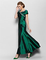 cheap -A-Line V Neck Ankle Length Taffeta Mother of the Bride Dress with Beading Side Draping by LAN TING BRIDE®