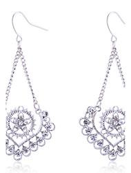cheap -European Style Fashion Drill Hollow Out Peach Heart Flower Alloy Drop Earrings