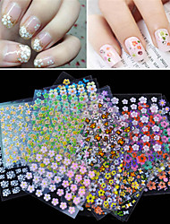 cheap -Cheap Wholesale 30 Sheet/lot 3D Design Tip Nail Art Nail Sticker Nail Decal Manicure Mix Nail Decoration