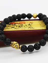 Men Fashion Bracelet Pulseras Mujer Black Lava Stone Buddha Beads Bracelet Jewelry Christmas Gifts