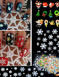 cheap -12pcs mixed 3d christmas snowflake feather christmas tree nail art stickers