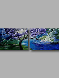 cheap -Ready to Hang Stretched Oil Painting Hand-Painted Canvas Wall Art Modern Blue Clouds Trees Abstract Two Panels