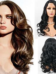 billige -Menneskehår Blonde Front Paryk Bølget Paryk 120% Ombre-hår / Natural Hairline / Afro-amerikansk paryk Dame Lang Blondeparykker af menneskehår / 100 % håndbundet