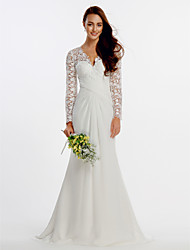 Sheath / Column V-neck Sweep / Brush Train Chiffon Lace Wedding Dress with Lace Criss-Cross by LAN TING BRIDE®