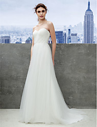 cheap -A-Line Sweetheart Sweep / Brush Train Tulle Wedding Dress with Ruche by LAN TING BRIDE®