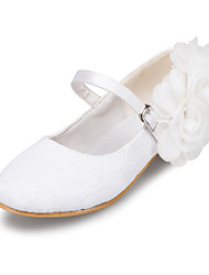 cheap -Girls' Shoes Tulle Spring Fall Flower Girl Shoes Heels Booties/Ankle Boots Buckle Flower for Casual Outdoor Ivory