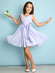 cheap -A-Line V Neck Knee Length Chiffon Junior Bridesmaid Dress with Bow(s) Criss Cross by LAN TING BRIDE®