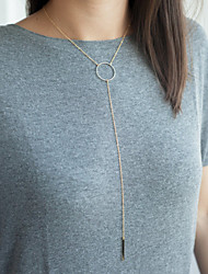 Women's Simple Fashion Metal Ring Tassel Alloy Bar Pendant Chain Necklace