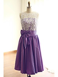 A-Line Jewel Neck Tea Length Lace Taffeta Bridesmaid Dress with Bow Lace by thstylee