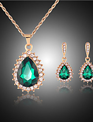 cheap -Jewelry Set - Rhinestone, Rose Gold Plated Drop Party, Cute Include Green For Party / Earrings / Necklace