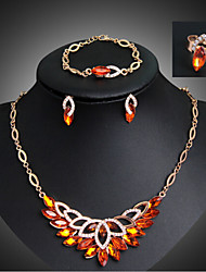 Crystal Vintage Party Link/Chain Bangle Gemstone & Crystal Rhinestone Rose Gold Plated Alloy Bracelet Necklace Earrings Ring