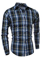 billige -Klassisk krave Herre - Ternet Bomuld Gade Skjorte / Langærmet