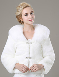 cheap -Long Sleeves Faux Fur Wedding Party Evening Casual Fur Coats With Rhinestone Shrugs
