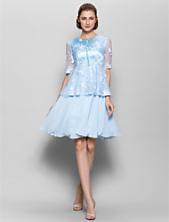 cheap -A-Line Jewel Neck Knee Length Chiffon Lace Mother of the Bride Dress with Buttons by LAN TING BRIDE®