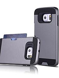 رخيصةأون -غطاء من أجل Samsung Galaxy حالة سامسونج غالاكسي حامل البطاقات غطاء خلفي لون سادة الكمبيوتر الشخصي إلى S7 edge / S7 / S6 edge plus