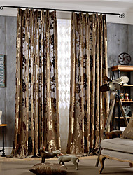 Grommet Top Double Pleat Two Panels Curtain Country Modern Neoclassical , Jacquard Bedroom Polyester Material Curtains Drapes Home