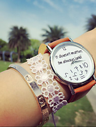 cheap -Vintage Letter It Does Not Matter I'M Always Late, Pu Women's Watches,Gift Idea Cool Watches Unique Watches Strap Watch