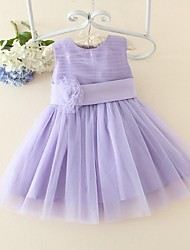 A-Line Knee Length Flower Girl Dress - Satin Tulle Sleeveless Jewel Neck with Flower