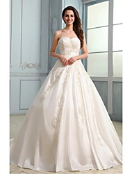 A-Line Strapless Court Train Taffeta Wedding Dress with Appliques by LAN TING BRIDE®