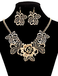 MPL Europe and the United States are hollow Diamond Flower Necklace Earrings Set