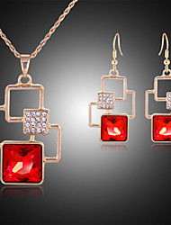 cheap -Jewelry Set Cute Party Gemstone & Crystal Cubic Zirconia Rose Gold Plated Imitation Diamond Alloy Geometric Cross Necklace Earrings