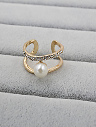 cheap -Fashion Women Stone And Pearl Set Adjustable Ring