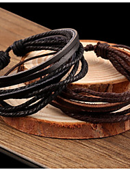 cheap -Women's Leather Bracelet Wrap Bracelet Vintage Casual Basic Plaited Multi Layer Handmade Leather Jewelry Jewelry Party Daily Casual