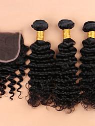 cheap -Brazilian Hair Curly Hair Weft with Closure Human Hair Weaves Black