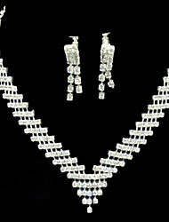 cheap -Lucky Doll Women's All Matching 925 Silver Plated Zirconia geometry Long Tassel Necklace & Earrings Jewelry Sets