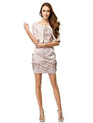 abordables -Funda / Columna Correas Corta / Mini Charmeuse Vestido Convertible Fiesta de Cóctel Vestido con Flor por TS Couture®