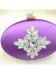 Women Bags All Seasons Silk Evening Bag Crystal/ Rhinestone for Formal Purple Red Green Blue Wine