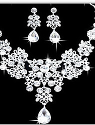 cheap -Women's Jewelry Set Bib necklace Earrings Cubic Zirconia Silver Plated Imitation Diamond Alloy Drop Cute Party Statement Jewelry Fashion
