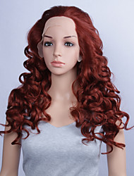 cheap -Fashion Synthetic Wigs Lace Front Wig 24inch Curly Burgundy Heat Resistant Hair Wig Women