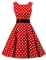 cheap -Women's Going out Vintage Cotton A Line Dress - Polka Dot Red, Print
