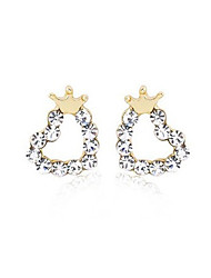 cheap -Stud Earrings Ear Cuffs Crystal Silver Plated Heart Heart Crown Golden Jewelry Party Daily Casual 2pcs