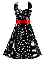 Women's Backless Black White Mini Polka Dot Dress,Vintage Halter 50s Rockabilly Swing Dress