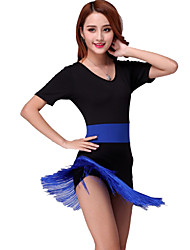 cheap -Latin Dance Dresses Women's Performance Milk Fiber Tassel Dress / Samba