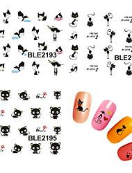 preiswerte -11 pcs 3D Nails Nagelaufkleber Nail Schmuck Wassertransfer Aufkleber Nagel Kunst Maniküre Pediküre lieblich Punk / Modisch Alltag / PVC / Nagelschmuck / 3D Nagel Sticker