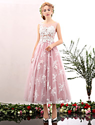 cheap -A-Line Princess Illusion Neckline Tea Length Lace Tulle Cocktail Party Prom Company Party Dress with Embroidery Lace by Huaxirenjiao